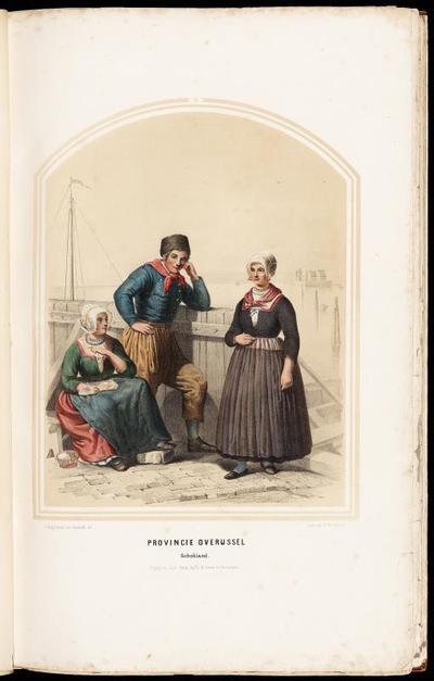 Man en twee vrouwen bij de haven van Schokland