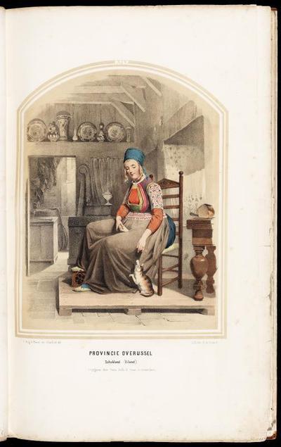 Vrouw in de dracht van Schokland in een interieur