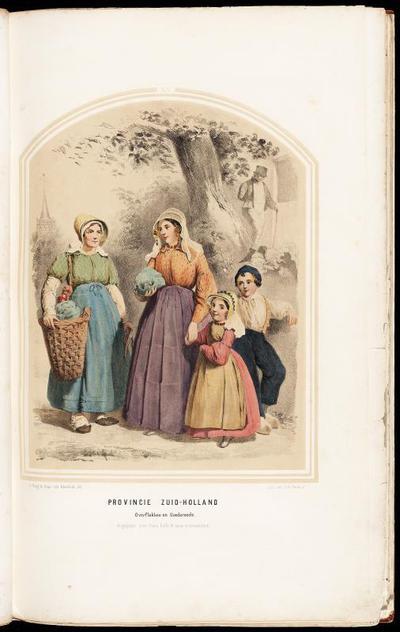 Vrouwen en kinderen in de dracht van Goeree Overflakkee