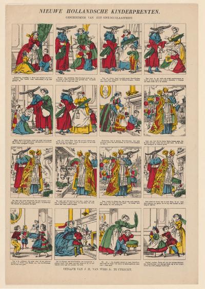De zestien afbeeldingen op de prent hebben elk enkele regels onderschrift. Samen geven de tekeningen de geschiedenis van het Sint Nicolaasfeest weer.