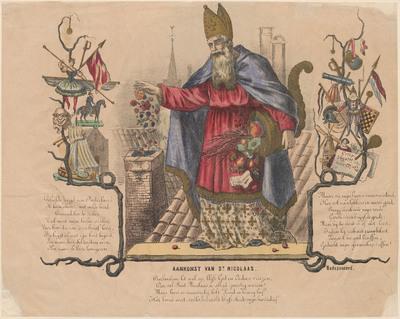De gekleurde litho heeft in het midden een grote afbeelding van Sint Nicolaas die lekkers gooit in de schoorsteen en aan beide zijkanten afbeeldingen van speelgoed. De drie teksten op de prent vormen samen een gedicht: