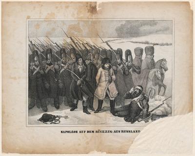 De prent toont Napoleon Bonaparte, te midden van zijn soldaten, op de terugtocht van de mislukte veldslag tegen Rusland in 1812. Onder de afbeelding, gedrukt in lithografie, staat de titel in het Duits. De maker van de prent is onbekend.