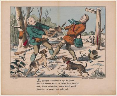 Op de in lithografie gedrukte afbeelding staan twee jagers die vechten om een vangst in een winters landschap. Twee honden aanschouwen het tafereel.