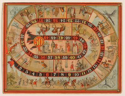 Op de kleurenlitho is een Sint Nicolaasspel te zien met vijftig speelvakjes.