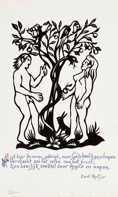 Op deze afbeelding staan Adam en Eva in het paradijs bij de boom der kennis. De tekst onder het knipsel luidt: