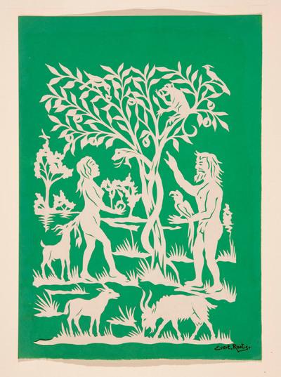 Een voorstelling van Adam en Eva in het paradijs, bij de boom van goed en kwaad. Er staan dieren om hen heen. Eva heeft de appel in de hand en de slang kijkt toe.