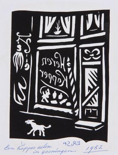 Het knipsel van een kapsalon in Groningen is in spiegelbeeld geknipt. De signatuur van Evert Root is ook in spiegelbeeld geschreven.