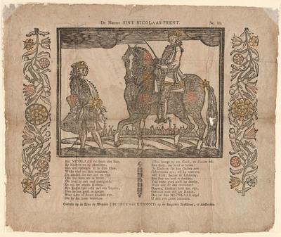 Op de prent, gedrukt in houtsnede, staat een man te paard afgebeeld met een zweep in zijn hand. Links van hem staat een man met een wandelstok en een driekante steek. Op de achtergrond is een stadsgezicht te zien. Onder de prent staat een gedicht.