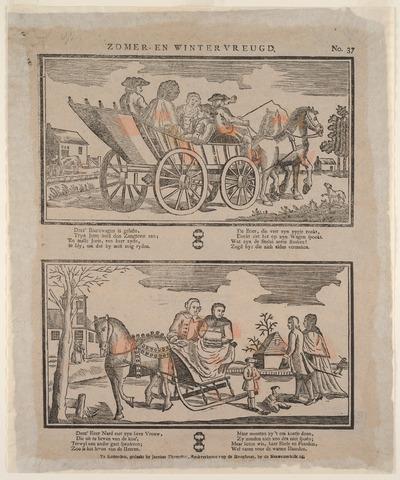 De twee afbeeldingen op de prent zijn gedrukt met houtsneden. Op de bovenste afbeelding staat een boerenwagen met tweespan, met een voerman en vier passagiers, rijdend langs een vaart. Rechtsonder staat de signatuur van de graveur H. van Lubeek. Op de onderste afbeelding zijn een paar in een arrenslede, een jongen met pop en een lopend echtpaar te zien.