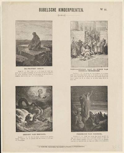 De prent is een uitgave van J. Vlieger in Amsterdam. De gravures zijn vervaardigd door Héliodore-Joseph Pisan, naar ontwerpen van C. Laplante en naar werken van de kunstschilder Gustave Doré. Op de prent zijn vier verhalen uit het Oude Testament verbeeld, met afbeeldingen en teksten.