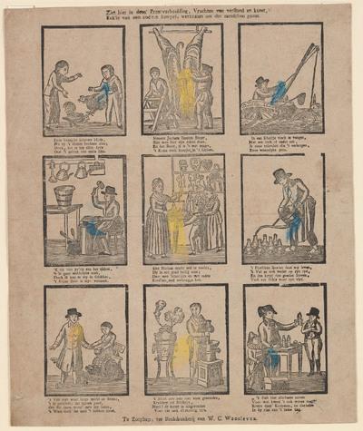 Op de prent staan negen afbeeldingen, gedrukt in houtsnede. Elke afbeelding heeft een vierregelig onderschrift. Het gedichtje onder het plaatje over St. Nicolaas luidt:
