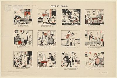 Oblong prent met twaalf afbeeldingen, elk met een tweeregelig onderschrift in het Fries. De prent is in 1911 gedrukt door W.A. Eisma Cz. in Leeuwarden, naar een ontwerp van P. de Jong. Volgens het opschrift linksboven was de prent een bijlage bij het tijdschrift 'Sljucht en Rjucht' van 28 januari 1911. Deze prent is afkomstig uit de nalatenschap van de prentenverzamelaar G.J. Boekenoogen (1868-1930).