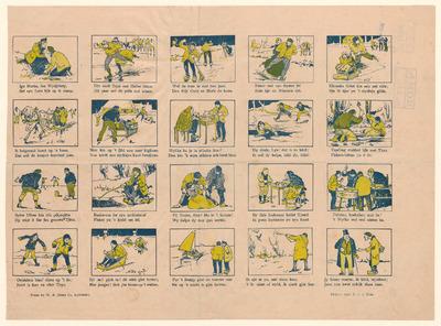 Op de langwerpige prent zonder titel staan twintig afbeeldingen, gedrukt met clichés. Onder elke afbeelding staat een tweeregelig onderschrift in het Fries. Het ontwerp van de afbeeldingen is van P. van der Hem. De prent is gedrukt door de uitgever W.A. Eisma in Leeuwarden.