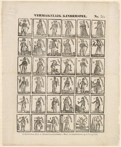 Op deze prent staan 36 speelkaarten van het floskaartspel. Het was vooral in de periode 1740-1840 een populair (kinder)spel.