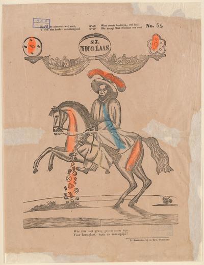 Op de prent, gedrukt in houtsnede, staat St. Nicolaas te paard met boven zich een soort guirlande waarin snoepgoed hangt.