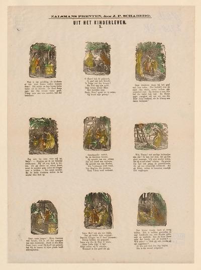De negen afbeeldingen op de prent, gedrukt in houtgravure, hebben elk een onderschrift. Tussen 1869 en 1882 gaf de firma G.Ph. Zalsman in Kampen een serie van ruim zeventig kinderprenten uit. Dit is nummer tien uit deze reeks. De eerste 42 prenten werden geredigeerd door J.P. Schaberg, schoolmeester en auteur van kinderboeken. Deze prent is afkomstig uit de nalatenschap van de prentenverzamelaar G.J. Boekenoogen (1868-1930).