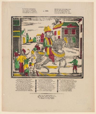 De prent, gedrukt in houtsnede, toont Sint Nicolaas op zijn paard in een dorp of stad. Om hem heen staan kinderen die speelgoed opvangen dat uit de zak van Sinterklaas valt. Op de achtergrond is nog een paard met ruiter op een dak te zien. Onder en boven de afbeelding zijn gedichten te lezen.