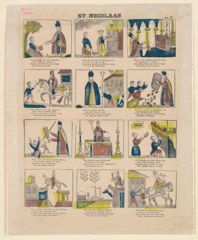 De twaalf houtsneden op de prent verbeelden het leven van Sint Nicolaas. Onder elke afbeelding staat een vierregelig gedicht.