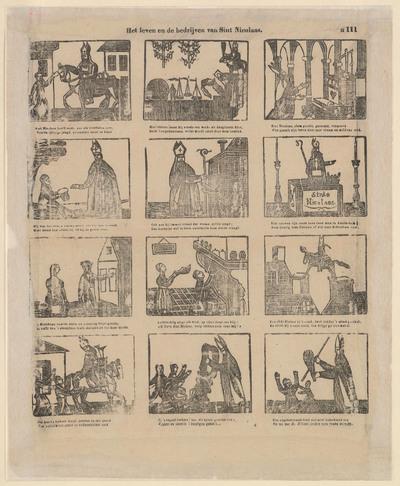 De titel van de prent luidt: 'Het leven en de bedrijven van Sint Nicolaas'. Onder de titel staan twaalf afbeeldingen gedrukt in houtsnede, elk met een tweeregelig onderschrift.