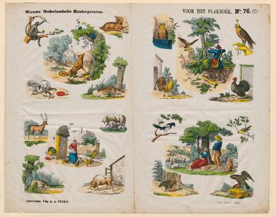 Oblong prent, met vier series gekleurde afbeeldingen gedrukt in lithografie. Dergelijke afbeeldingen konden worden uitgeknipt en in een plakboek geplakt. De prent is tussen 1857 en 1881 uitgegeven door Georg Lodewijk Funke in Amsterdam en gedrukt door Emrik & Binger in Haarlem.