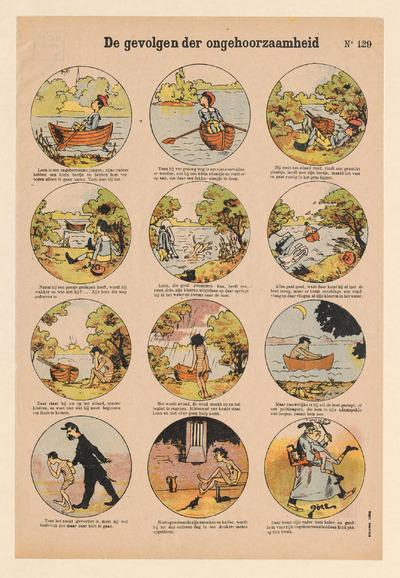 Prent met twaalf ronde afbeeldingen gedrukt in lithografie, elk met een onderschrift en ingekleurd met verschillende kleuren. De afbeeldingen vertellen het verhaal over een jongen die ongehoorzaam is geweest. De prent is uitgegeven door Ch. Gordinne & Fils in Luik voor de Nederlandstalige markt. Gordinne begon in 1894 met de uitgave van centsprenten. De tekeningen zijn vervaardigd door Louis Doës. Deze prent is afkomstig uit de nalatenschap van de prentenverzamelaar G.J. Boekenoogen (1868-1930).