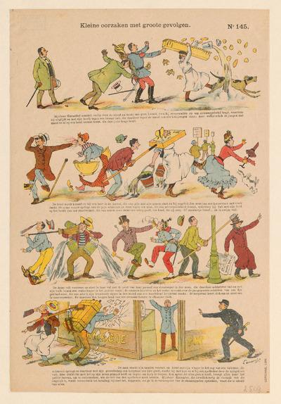 De prent heeft vier afbeeldingen over de breedte, gedrukt in lithografie, met elk een onderschrift. Ze is uitgegeven door Ch. Gordinne & Fils in Luik voor de Nederlandstalige markt. Gordinne begon in 1894 met de uitgave van centsprenten. De bijschriften zijn van Oscar Lamouche.