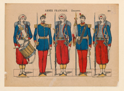 Deze prent is tussen 1879 en 1892 uitgegeven door Imp. Delhalt in Metz, Frankrijk. Jean-Jules Delhalt nam in 1879 de prentenfabriek van P. Didion over. In 1892 verplaatste Delhalt de productie naar Nancy. Op de prent staan vijf Zouaven. De Zouaven vormden een Frans legeronderdeel dat heeft bestaan tussen 1831 en 1962. Het legeronderdeel bestond oorspronkelijk uit soldaten uit de Franse koloniën. Tot de Eerste Wereldoorlog vochten de Zouaven in dit exotische uniform. Ook in het pauselijk leger dienden Zouaven, maar zij hadden andere hoofddeksels.