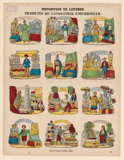 De twaalf afbeeldingen, gedrukt in lithografie, zijn ingekleurd met verschillende kleuren. De prent heeft als onderwerp de Wereldtentoonstelling in Londen, Engeland, in 1851. Bovenin elke afbeelding is een boog te zien, met daarin de naam van het deelnemende land. De prent is uitgegeven tussen 1852 en 1858 door Charles Gangel in Metz, Frankrijk.