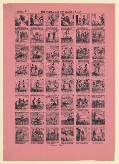 De prent is in de tweede helft van de negentiende eeuw uitgegeven door Boronai in Madrid, Spanje. De teksten zijn in het Spaans. De vertaling van de titel 'Historia de un Náufrago' luidt: 'Verhaal van een schipbreukeling'. De prent is een lithografie, gedrukt op roze-lila papier. De afbeeldingen zijn genummerd.