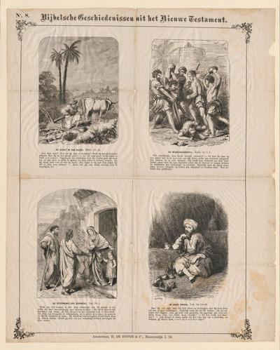 Op de prent zijn vier verhalen uit het Nieuwe Testament met afbeelding en onderschrift verbeeld: de uitzending van de discipelen en de parabels van de schat in de akker, de wijngaardeniers en de rijke dwaas. Deze prent is afkomstig uit de nalatenschap van de prentenverzamelaar G.J. Boekenoogen (1868-1930). Ze is tussen 1853 en 1869 uitgegeven door H. de Hoogh & Co in Amsterdam. De gravures zijn gemaakt door W. Cheshire. Het prentenfonds van De Hoogh is omstreeks 1869 overgenomen door J. Vlieger in Amsterdam.