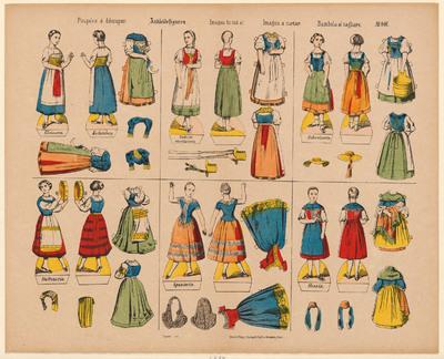 Dit papieren spel is een uitknipprent met zes aankleedfiguren. Elke pop heeft een voor- en achterzijde die tegen elkaar kunnen worden geplakt. De kledingstukken hebben kleine lipjes die om de pop gevouwen worden. Op het voetstuk van elke pop staat het land of de landstreek die ze zou verbeelden. Aankleedpoppen komen aan het eind van de achttiende eeuw op de markt, maar worden vooral in de negentiende eeuw algemeen geproduceerd. Deze uitknipprent is tussen 1889 en 1906 uitgegeven door C. Burckardt's Nachfolger in Weissenburg, Frankrijk. De titel is weergegeven in vijf talen: Frans, Duits, Engels, Spaans en Italiaans. De prent is gedrukt in lithografie en daarna ingekleurd.