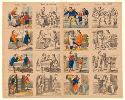 Op de oblong prent staan zestien liggende afbeeldingen gedrukt in lithografie. Er zijn telkens twee dezelfde afbeeldingen, waarvan er één gekleurd en één ongekleurd is. Bovenaan de prent staat de titel in vier talen (Frans - Duits - Engels - Spaans). De vertaling van de titel luidt: 'Plaatjes om in te kleuren'. Deze prent werd tussen 1889 en 1906 uitgegeven door C. Burckardt's Nachfolger in Wissembourg.