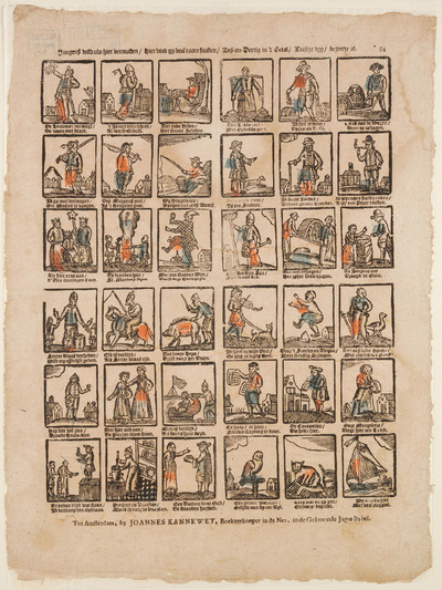 Op de prent staan 36 afbeeldingen, gedrukt in houtsnede, elk met een tweeregelig onderschrift. Sint Nicolaas staat op twee van deze plaatjes afgebeeld. Op de ene afbeelding deelt hij speelgoed uit, op de andere rijdt hij op een paard: 'Elk is verblijd, Als Sinter Klaas rijd'.