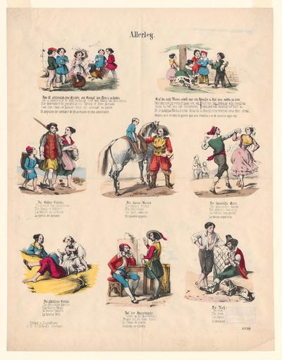 Elke afbeelding, gedrukt in lithografie, heeft een onderschrift in vijf talen (Duits - Nederlands - Engels - Frans - Spaans). De prent is tussen 1820 en 1865 uitgegeven door Friedrich Gustav Schulz in Stuttgart.