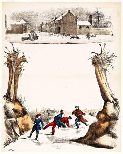 Dit vel is bedoeld als briefpapier en heeft een voorgedrukte omlijsting in kleurenlithografie. Onderaan zijn enkele schaatsers afgebeeld. Links en rechts staan knotwilgen. Bovenaan is een besneeuwde straat met sleeënde kinderen te zien. Het briefpapier is nummer 14 uit het fonds van een onbekende uitgever.