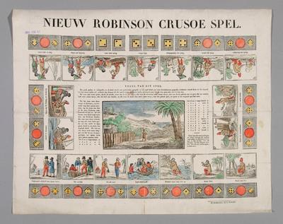 Dit bordspel is gebaseerd op het boek 'Robinson Crusoe' van Daniel Defoe (1719). Het speelbord is gemaakt in houtsnede en de spelregels in boekdruk. Er wordt verwezen naar de uitgave van het spel in boekvorm. Het is uitgegeven tussen 1827 en 1847 door J. Zender in Dordrecht.