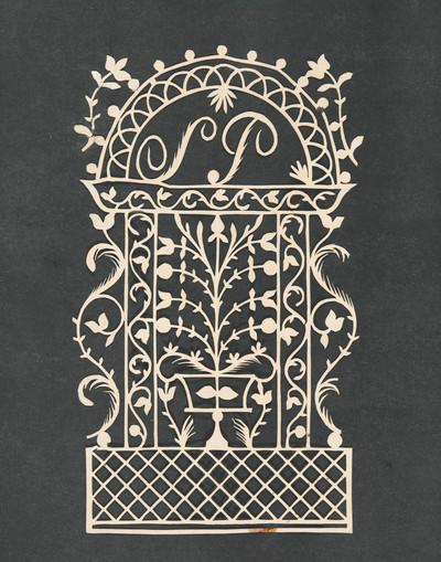 Knipsel van een prieelachtig hekwerk, met in een halve cirkel bovenin de letters 'SP'. Daaronder staat een bloempot met een plant op een ruitmotief.