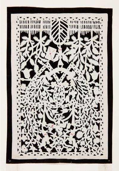 In deze voorstelling is een hek met een gesloten poort te zien met erop een engel met een bazuin en een brief. Erboven staan twee verstrengelde brandende harten en drie engeltjes waarvan één de strik van de harten vasthoudt. Het geheel is versierd met prikwerk.