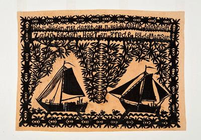 Twee botters tussen takmotieven, met kenmerkende randmotieven en -versiering. Het knipsel is als geschenk gegeven bij een huwelijk. Bovenin is de tekst te lezen: 'Het is heden nu de tijt om u beide geluk te wensen, zalig bij den Heer en vrede bij de mensen'.