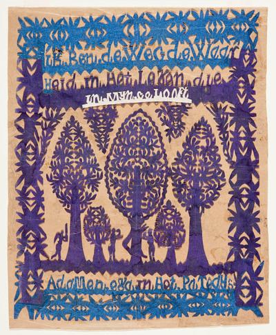 Voorstelling van Adam en Eva in het paradijs bij de boom der kennis. In het knipsel is de volgende tekst geknipt: 'Ik ben de weg, de waarheid in het leven die in mij gelooft' (Joh. 14:6).