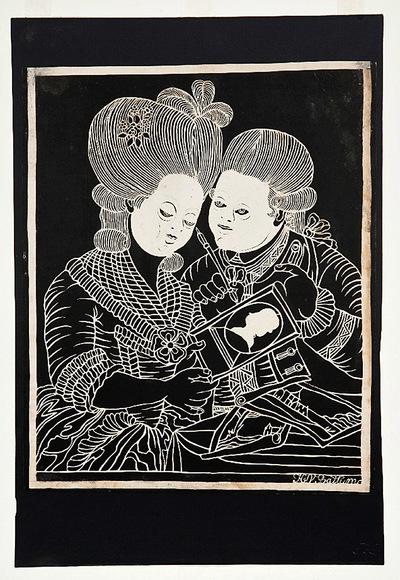 Het knipsel bestaat uit zeer fijne lijnen. Alleen de gezichten van de figuren en het silhouet zijn volledig van papier. Rechtsonder is het knipsel gesigneerd door H. van Battum. Het is waarschijnlijk vervaardigd naar voorbeeld van een Franse gravure.