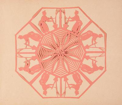 Het roze knipsel vormt een achtzijdig symmetrisch kleedje met daarin dienstmeisjes met de ramenspuit afgebeeld.