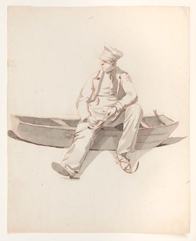 Op de afbeelding is een man te zien die zittend op een boot zijn schaatsen onderbindt. De afbeelding is getekend met grijs en roodbruin potlood en ingekleurd met aquarel.
