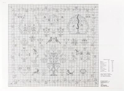Het borduurpatroon uit de documentaire collectie van het NOM is een kopie van een merklappatroon uit 1790. Het patroon is symmetrisch van opzet, met rondom een randmotief van anjers. Midden bovenaan staat de tekst 'ANNO 1790'. Daaronder staat een bloemenkrans, gedragen door twee engelen met in de krans de initialen 'I S'. Links staan de verspieders Kanaäns in een bloemenkader met twee vogeltjes. Rechts zijn Adam en Eva met de slang in de boom te zien, eveneens gekaderd met bloemmotief. De rest van de lap is gevuld met allerlei motieven: besjes, bloempotten, een stermotief, vogels, een vruchtenmand, een haan, jagertjes, een hert, een eenhoorn, hartmotiefjes, waarvan één met de initialen 'HS' en een gekroond, gevleugeld hart met de initialen 'I W'.