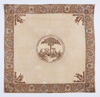 Willem V (1748-1806) was stadhouder van de Republiek der Verenigde Nederlanden. Hij was getrouwd met Wilhelmina van Pruisen (1751-1820). De afbeeldingen en tekst op het doek zijn gemaakt tijdens de patriottentijd (1780-1795). In deze periode stonden patriotten en prinsgezinden lijnrecht tegenover elkaar. Toen patriotten in Utrecht in 1787 het bestuur overnamen, dreigde een burgeroorlog. Prinses Wilhelmina reisde in juni dat jaar naar 's-Gravenhage. Zij werd tegengehouden en moest onverrichterzake terugkeren naar Nijmegen. De broer van Wilhelmina, de nieuw aangetreden koning van Pruisen, kwam op haar initiatief zijn zuster te hulp. De patriotten verlieten Utrecht bij de nadering van het Pruisische leger. Op 23 september 1787 was de rust hersteld. Prinses Wilhelmina en haar echtgenoot keerden terug naar Den Haag.