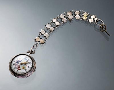Zilveren horloge met ketting, Walcheren, circa 1860