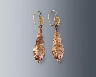 Paar gouden oorbellen, Hulst, circa 1850-1860