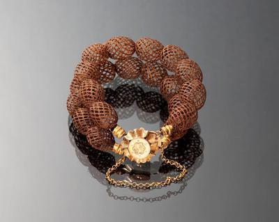 Armband van gevlochten haar en gouden slot, Noord-Holland, 1853-1906