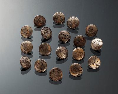Set van 18 zilveren knopen, Friesland, 1800-1899