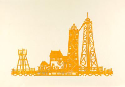 Uit geel sitspapier zijn de vuurtoren van Urk met het bijbehorende huisje en de bakens bij de haven geknipt. Het huisje is open, zodat het ook van binnen te zien is.